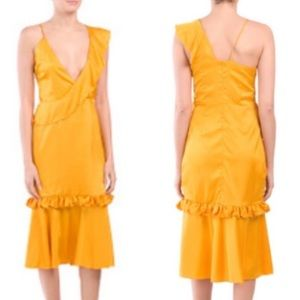 Anthropologie VONE Yuli Mustard Ruffle Dress XL